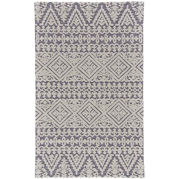 Dakota Fields Gustin Geometric Handmade Tufted Wool Pearl Gray Area Rug Reviews Wayfair