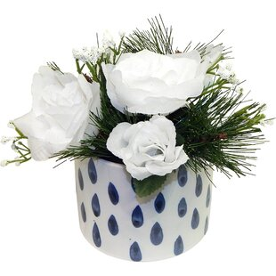 White rose arrangement wayfair white christmas rose arrangement mightylinksfo