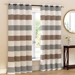 sigmon polycotton striped semisheer grommet curtain panels set of 2
