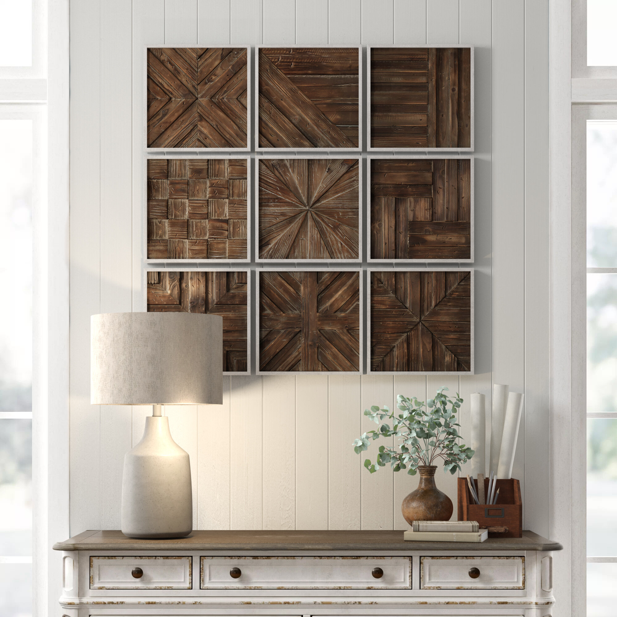 Terence Piece Rustic Wooden Square Wall Decor Set Reviews Birch Lane