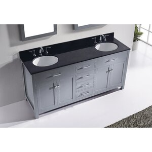 Templeton 71.9″ Double Bathroom Vanity Set with Black Top and Mirror