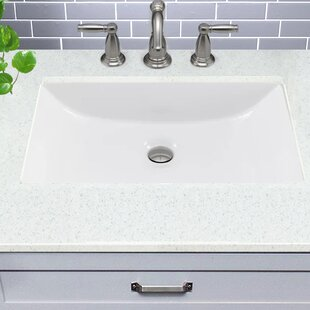 Great Point Ceramic Rectangular Undermount Bathroom Sink with Overflow ByNantucket Sinks