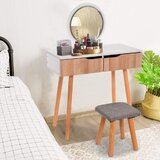 Cedarpoint Solid Wood Vanity Set with Stool and Mirror by George Oliver