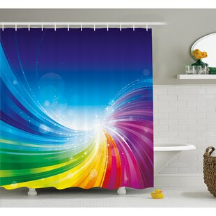 Funky Pop Art Stylized Radiant Lines in Wave-Like Color Reflections Image Shower Curtain Set