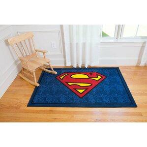 Charming Superman Blue Area Rug