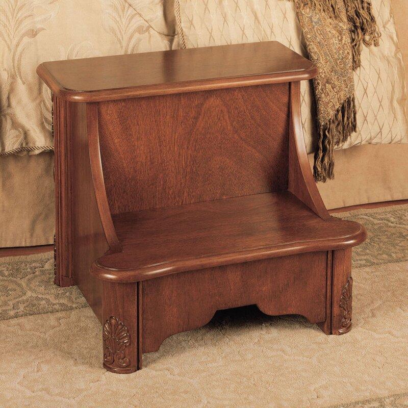 Woodbury Mahogany 2 Step Manufactured Wood Bed Step Stool with 200 lb  Load  Capacity. Powell Woodbury Mahogany 2 Step Manufactured Wood Bed Step Stool