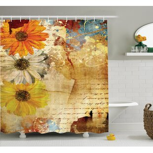 Flowers and Poetry Decor Shower Curtain By East Urban Home