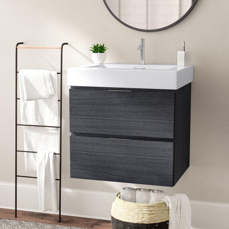 Tenafly Single Wall Mount Modern Bathroom Vanity Set Reviews - 24 bathroom vanity with drawers