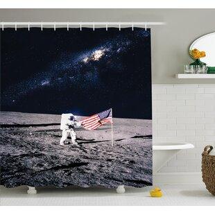 Moon Astronaut Decor Single Shower Curtain