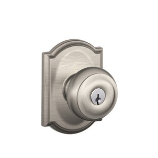 Georgian Knob with Camelot Trim Keyed Entry Lock by Schlage
