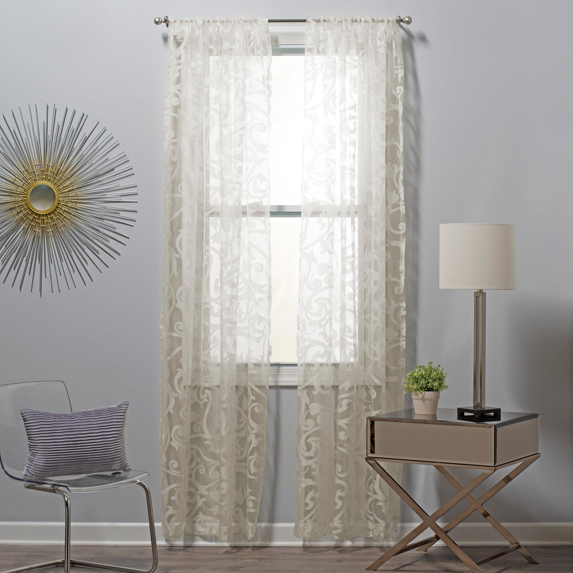 Sure Fit Filigree Burnout Floral Sheer Rod Pocket Curtain Panels Wayfair