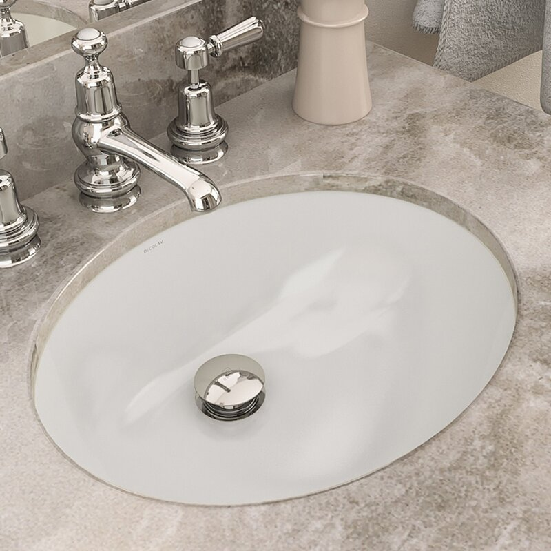 Carlyn® Classically Redefined Ceramic Oval Undermount Bathroom Sink With  Overflow