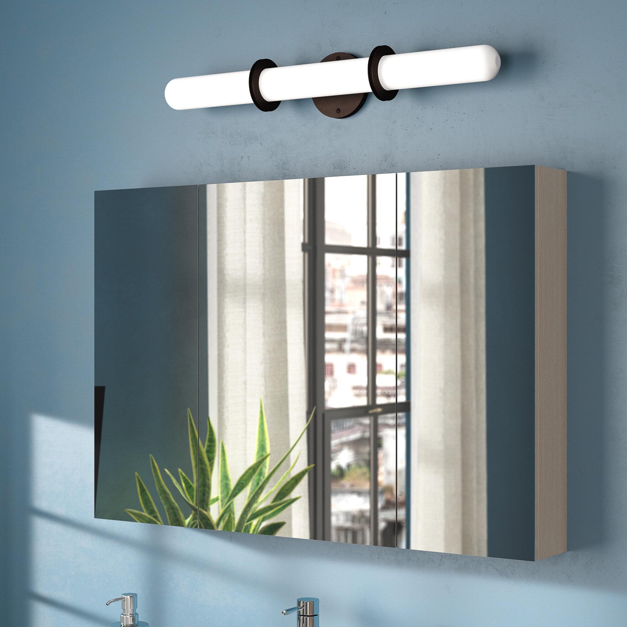 Latitude Run Almeda Triple Door Surface Mount Frameless Medicine Cabinet With 5 Adjustable Shelves And Led Lighting Reviews Wayfair
