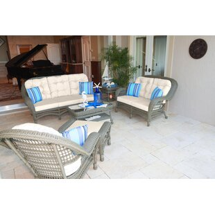 Panama Jack Outdoor Carolina Beach 5 Piece Sunbrella Sofa Set with Cushions