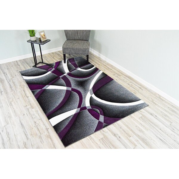 Ivy Bronx Mccampbell 3d Abstract Purple Gray White Area Rug Reviews Wayfair