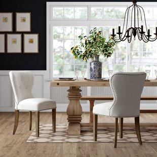 Lugo Tufted Linen Side Chair in Beige Set of 2 by Alcott Hill