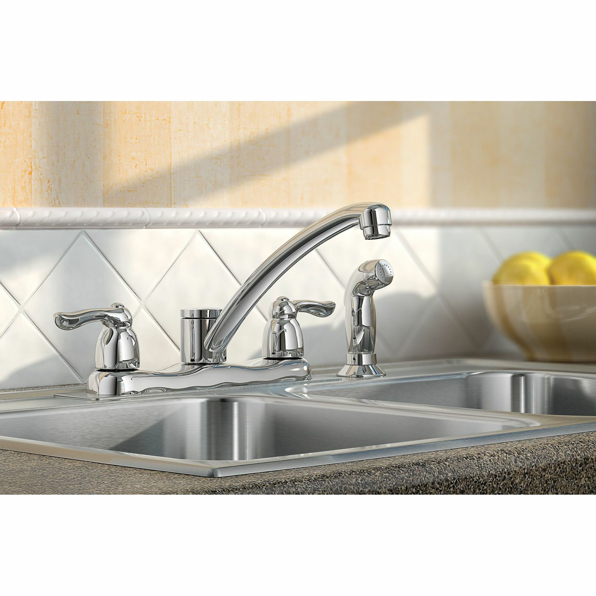 Moen Chateau Double Handle Kitchen Faucet With Side Spray And Duralock Reviews