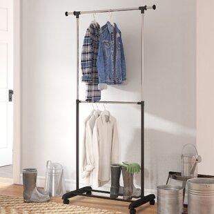 3625 W Adjustable 2 Tier Rolling Garment Rack