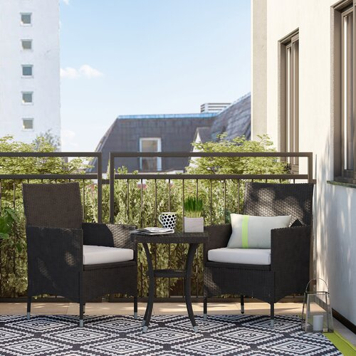 2-Sitzer Balkonset Kinsler mit Polster   Garten > Balkon > Balkon-Sets   Braun   Rattan   Garten Living