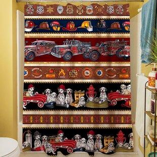 Best Fire House Stripe Shower Curtain ByManual Woodworkers & Weavers
