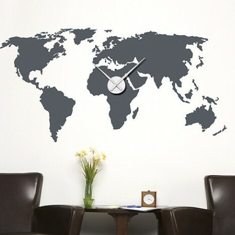 Style and apply world map wall clock wall decal wayfair world map wall clock wall decal gumiabroncs Image collections