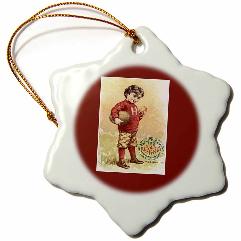 The Holiday Aisle Little Boy In Dressed For Football Royal Gem Minnesota Snowflake Holiday Shaped Ornament Wayfair