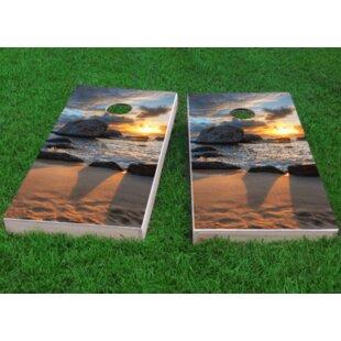 Custom Cornhole Boards Sunset on the Beach Cornhole Game (Set of 2)
