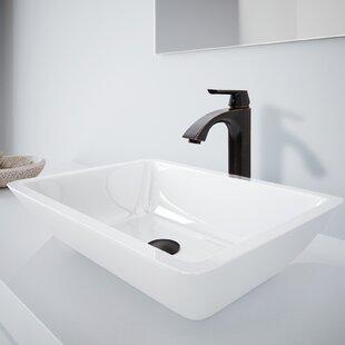 Inexpensive Phoenix Stone Rectangular Vessel Bathroom Sink with Faucet By VIGO