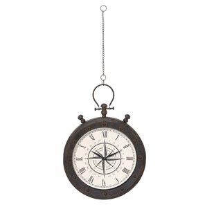 metal hanging on chain wall clock