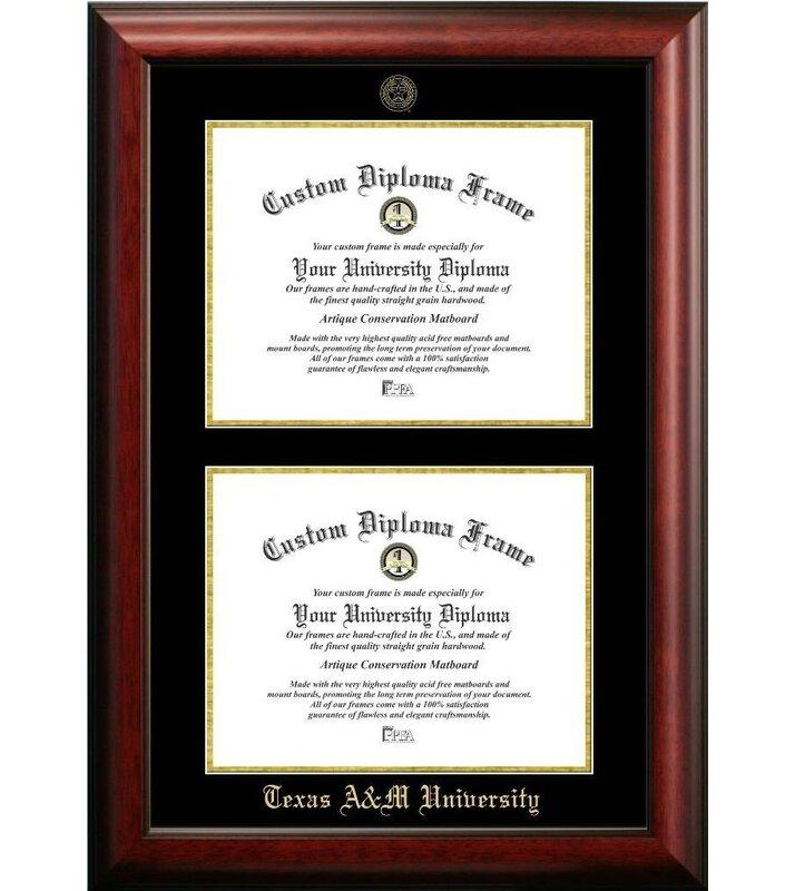 Diploma Frame Deals Texas A & M University Double Degree Diploma ...