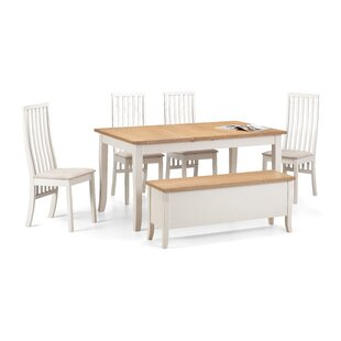 Isabelle Dining Set With 4 Chairs And 1 Benches By August Grove
