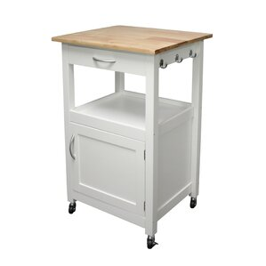 Jordan Kitchen Island Cart with Natural Wood Top by Charlton Home