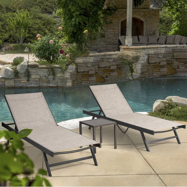 Arlmont Co Robles Double Sun Lounger Set With Table Wayfair