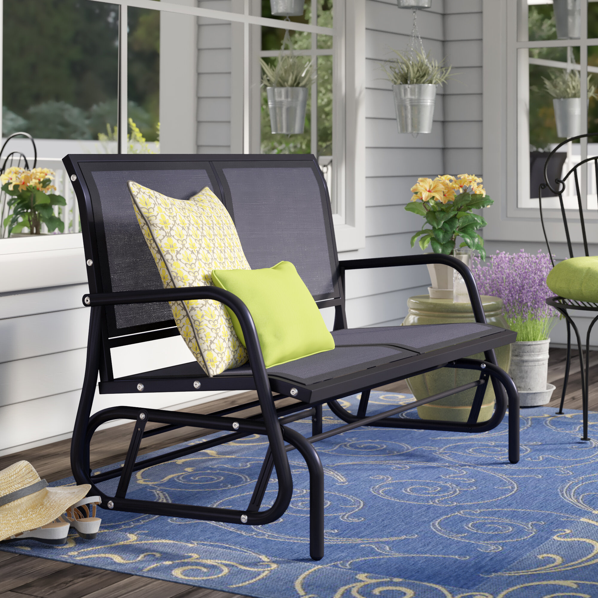 Patio Furniture Round Rock Tx.Outdoor Metal Sofa Glider Wayfair