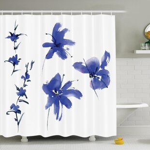 Price Check Traditional House Oriental Ancient Watercolor Inspired Plum Blossom Petals Eastern Artwork Shower Curtain Set By Ambesonne