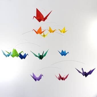 Amazon.com: White Nursery Mobile Hanging Origami Mobile with 18 ... | 340x340
