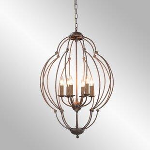 Gaffney 6-Light Geometric Chandelier by Bungalow Rose