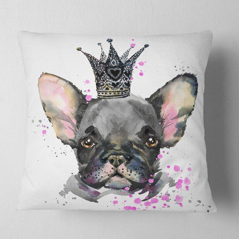 East Urban Home Animal Cute Dog With Crown Pillow Wayfair