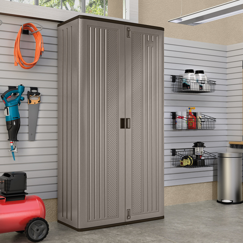 suncast 80 h x 38 w x 17 d mega tall blow mold storage cabinet rh wayfair com low cost garage storage cabinets buy garage storage cabinets online