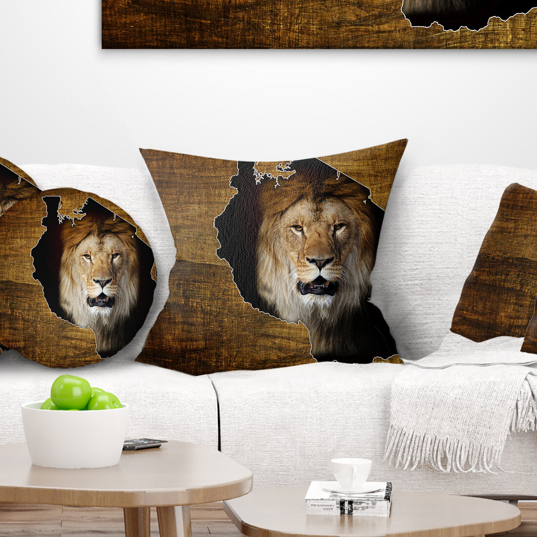 East Urban Home Abstract Tanzania Wildlife Map Design Throw Pillow Wayfair