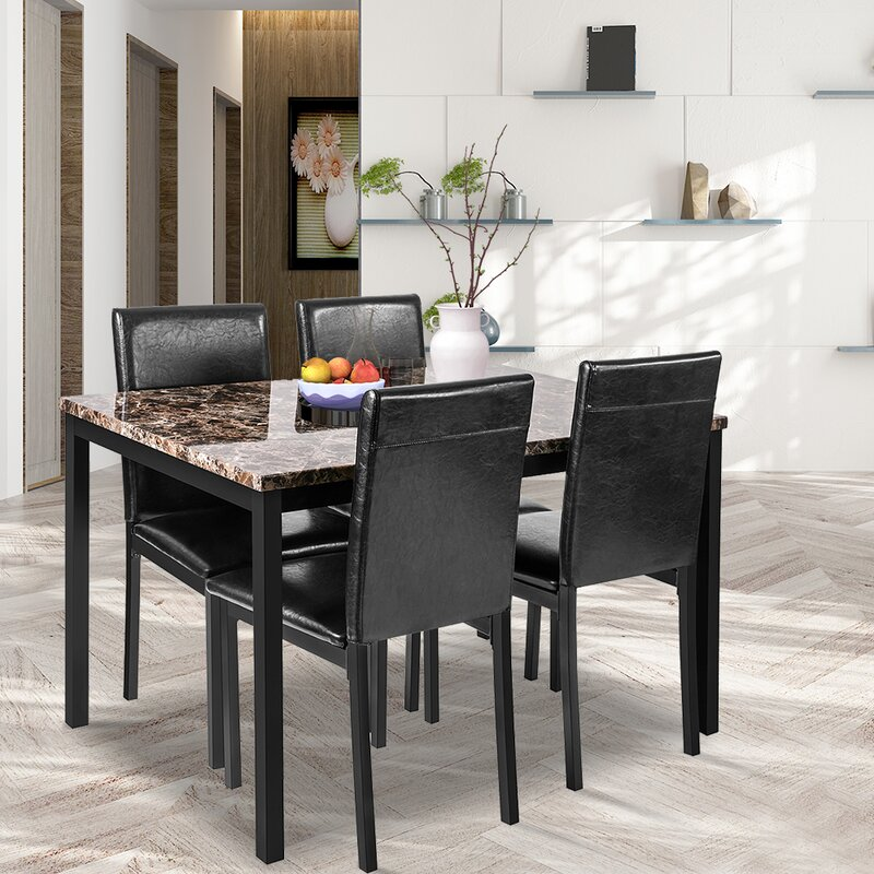 Latitude Run 5 Piece Faux Marble Dining Table Set With 4 Pu Leather Chairs Dining Table Set For 4 For Breakfast Dining Room Kitchen Furniture Pub And Bistro Reviews Wayfair Ca
