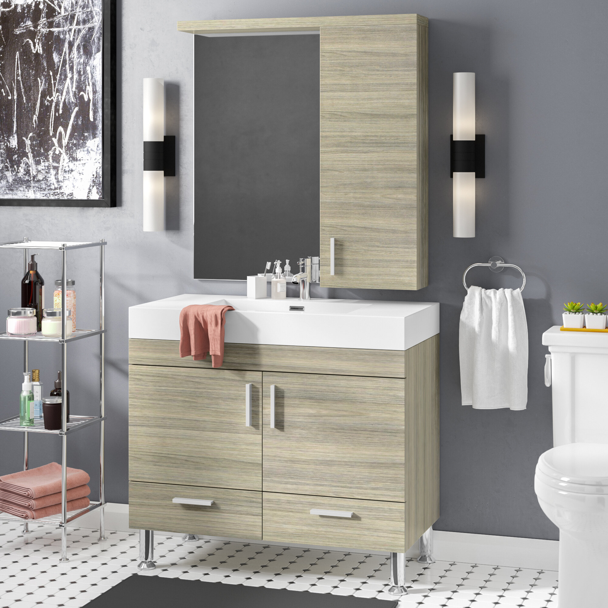 Wade logan waldwick 36 single modern bathroom vanity set with mirror reviews wayfair