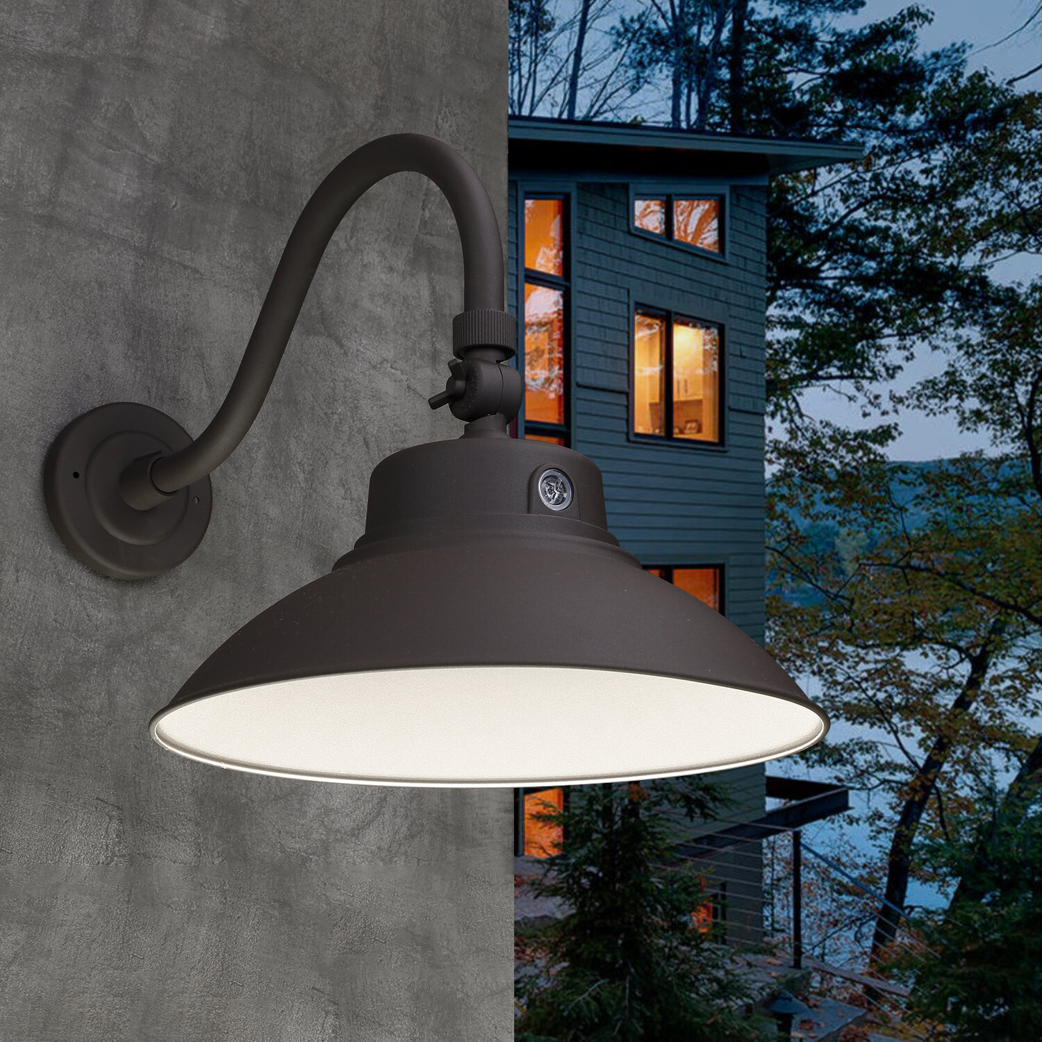 Breakwater Bay Brice Led Outdoor Barn Light With Dusk To Dawn Reviews Wayfair