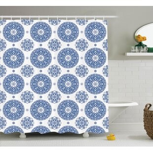 Hayes French Country Style Floral Circular Pattern Lace Snowflake Design Print Single Shower Curtain