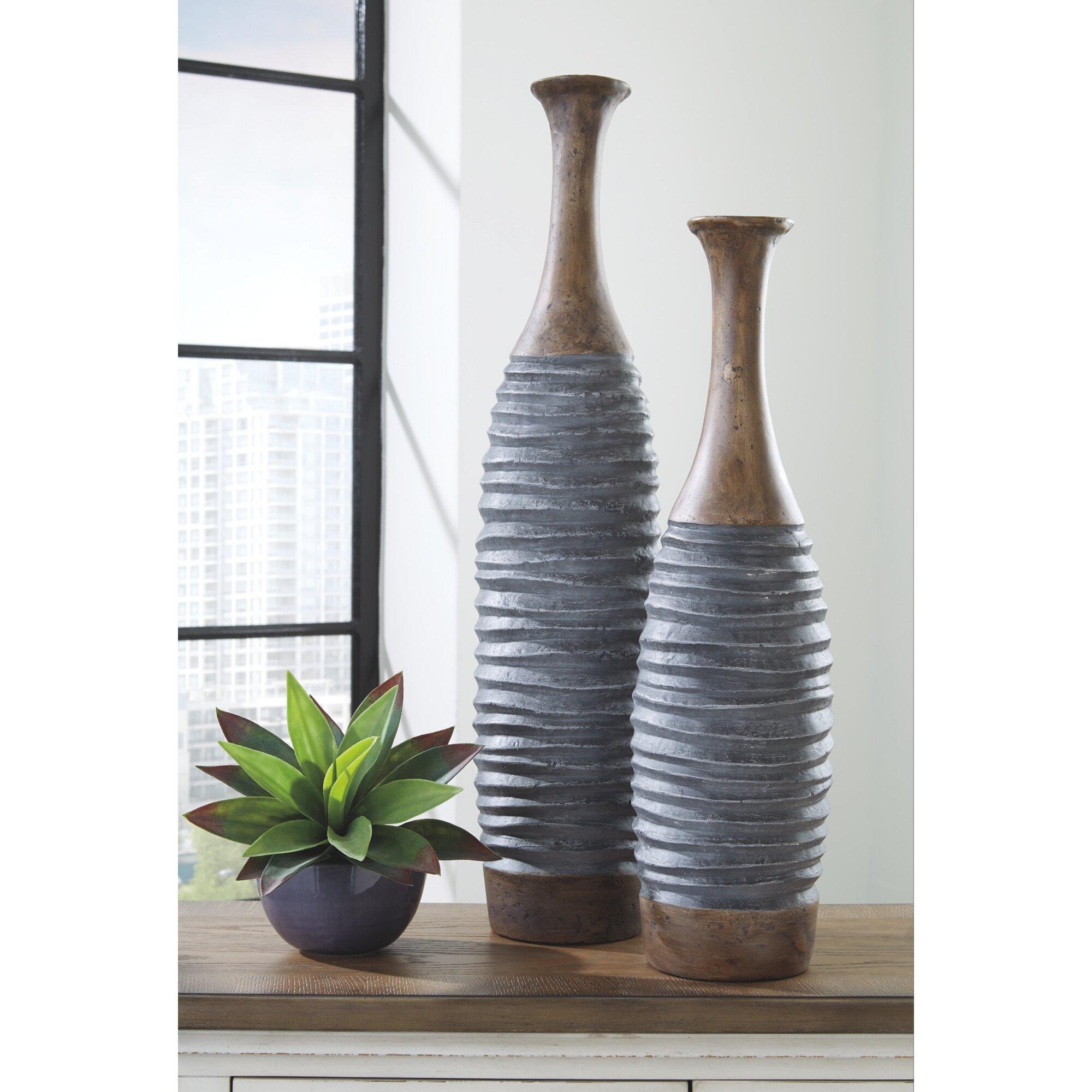 Coastal Farmhouse 2 Piece Port Gray Brown Resin Floor Vase Set Reviews Wayfair
