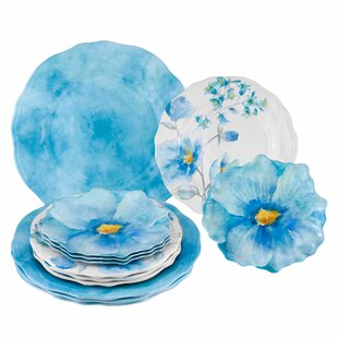 Pleasanton Floral 12 Piece Melamine Dinnerware Set Service for 4
