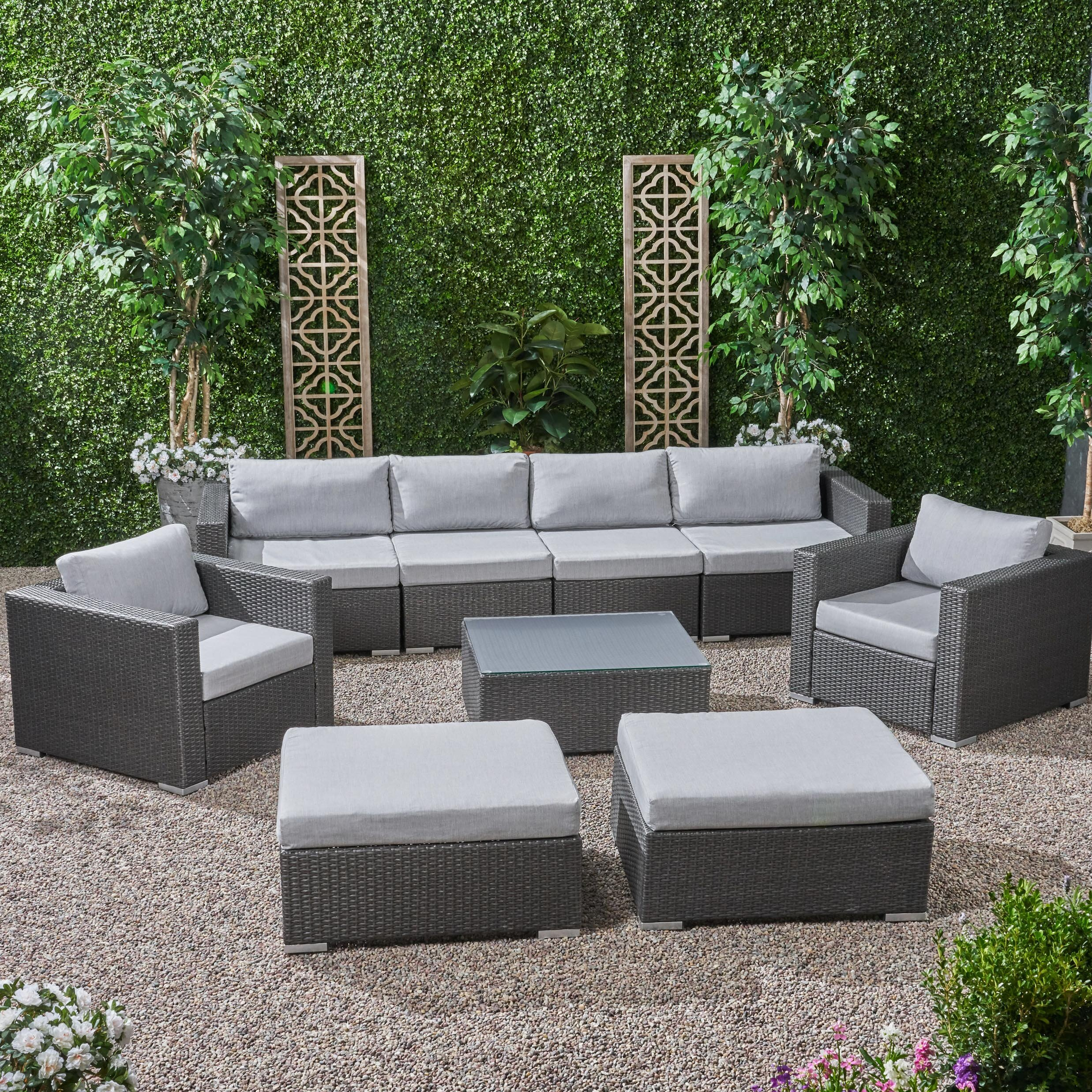 6 Seater Wicker Modular Sectional