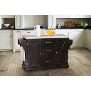 Gracie Oaks Jax Kitchen Island with Granite Top