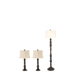 Gracie Oaks Malott 3 Piece Table and Floor Lamp Set