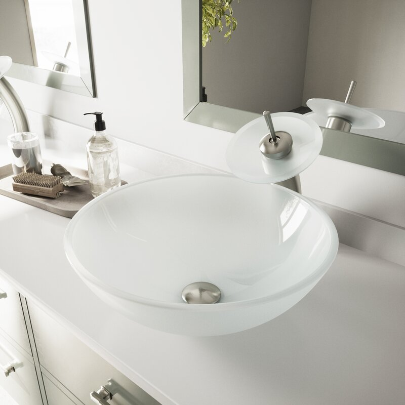 Vigo Glass Circular Vessel Bathroom Sink With Faucet Reviews Wayfair